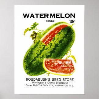 Etiqueta del paquete de la semilla de la sandía póster