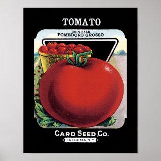Etiqueta del paquete de la semilla del tomate póster