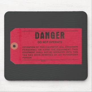 Etiqueta del peligro alfombrillas de raton