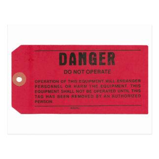 Etiqueta del peligro postales