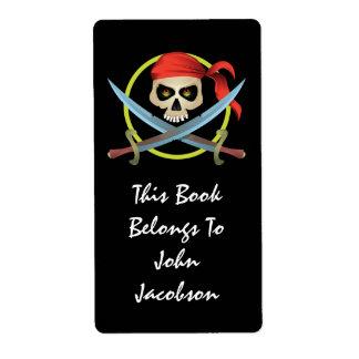etiqueta del pirata del cráneo 3D