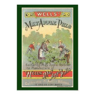 Etiqueta del producto del vintage, píldoras de invitación 12,7 x 17,8 cm