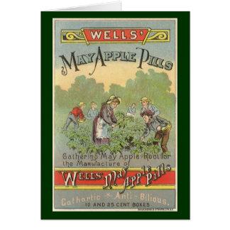 Etiqueta del producto del vintage, píldoras de tarjeta de felicitación