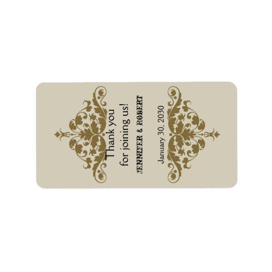 Etiqueta del protector labial del boda del damasco