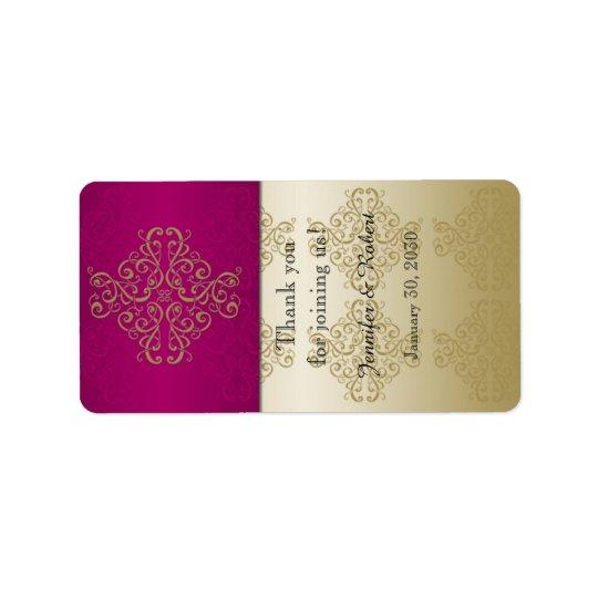 Etiqueta del protector labial del boda del damasco etiqueta de dirección