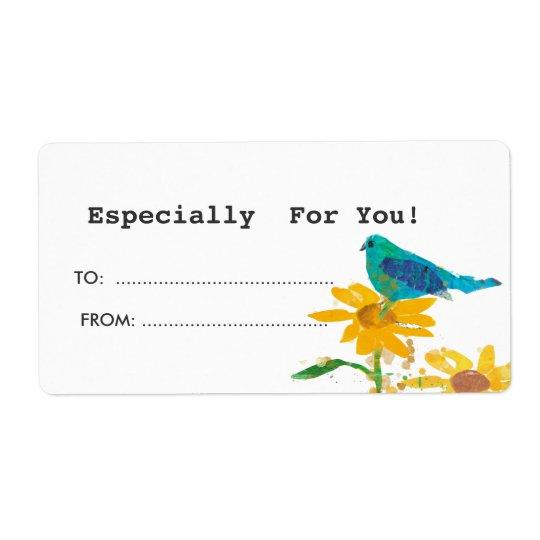 Etiqueta del regalo con el pájaro azul