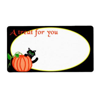 Etiqueta del regalo de Halloween del gato negro de