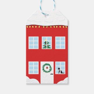 Etiqueta del regalo de la casa del navidad