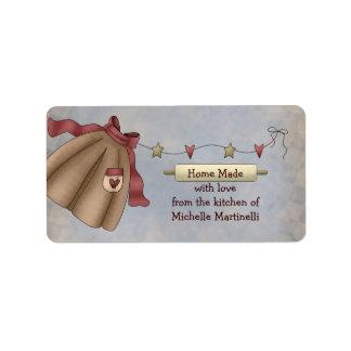 Etiqueta del regalo de la cocina del delantal del