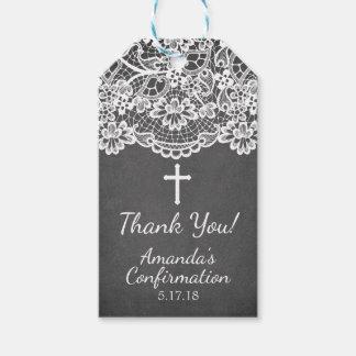 Etiqueta del regalo de la confirmación del cordón