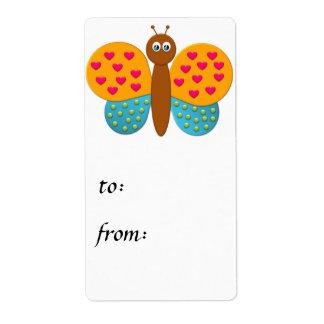 Etiqueta del regalo de la mariposa de la fantasía etiqueta de envío