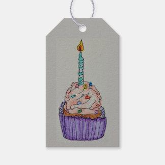 Etiqueta del regalo de la torta de la taza del