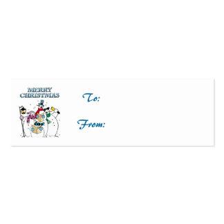 Etiqueta del regalo de los Carolers del muñeco de  Plantilla De Tarjeta De Negocio