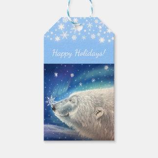 Etiqueta del regalo de los copos de nieve del oso