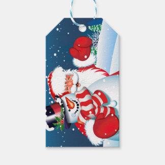 Etiqueta del regalo de Santa y del Showman