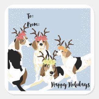 Etiqueta del regalo de vacaciones del Coonhound