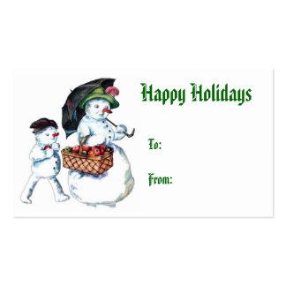 Etiqueta del regalo de vacaciones del muñeco de ni tarjeta de visita