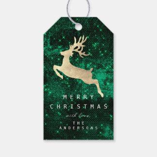 Etiqueta del regalo de vacaciones feliz al reno
