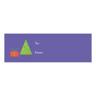 Etiqueta del regalo del árbol de navidad (púrpura) tarjetas de visita mini