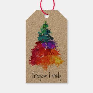 Etiqueta del regalo del árbol el   del día de