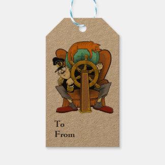 Etiqueta del regalo del capitán de la butaca
