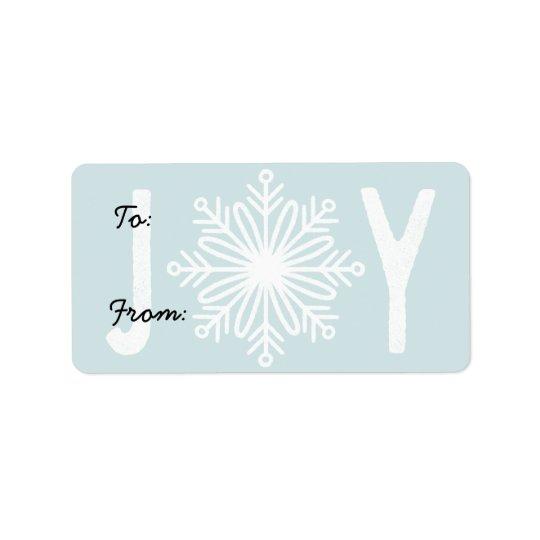 Etiqueta del regalo del copo de nieve de la etiqueta de dirección