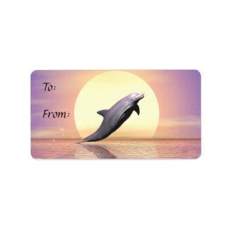 Etiqueta del regalo del delfín de Sun Etiqueta De Dirección