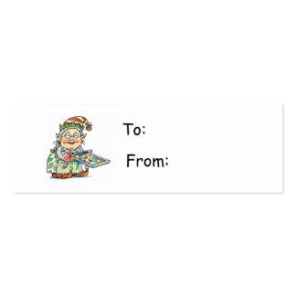 Etiqueta del regalo del duende del dibujo animado tarjetas personales