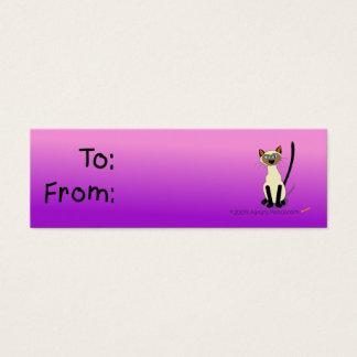 Etiqueta del regalo del gato siamés (rosa y