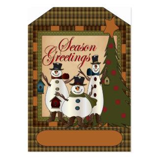 Etiqueta del regalo del muñeco de nieve de los tarjetas de visita grandes