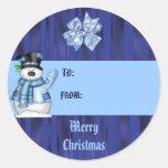 Etiqueta del regalo del muñeco de nieve del