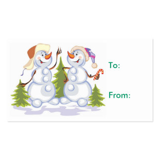 Etiqueta del regalo del muñeco de nieve del navida tarjetas de visita