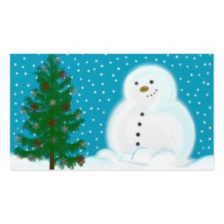 Etiqueta del regalo del muñeco de nieve tarjeta de visita