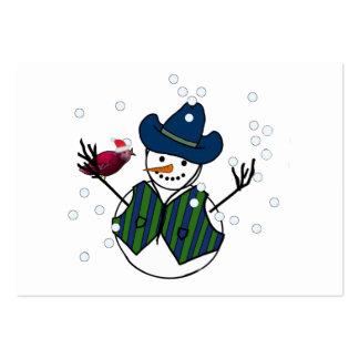 Etiqueta del regalo del navidad de los muñecos de  plantilla de tarjeta de visita