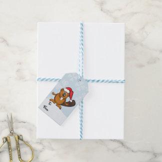 Etiqueta del regalo del navidad del castor de