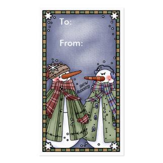 Etiqueta del regalo del navidad del muñeco de niev plantilla de tarjeta de negocio