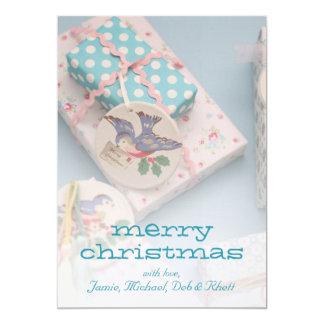 Etiqueta del regalo del navidad invitación 12,7 x 17,8 cm