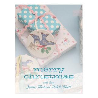 Etiqueta del regalo del navidad postal