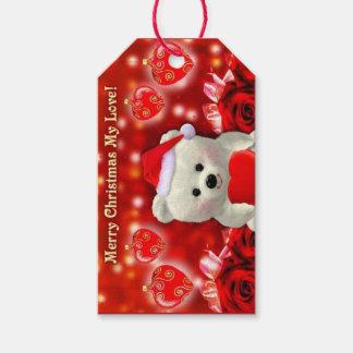 Etiqueta del regalo del oso de peluche del navidad