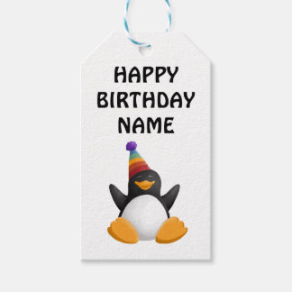 Etiqueta del regalo del pingüino del feliz