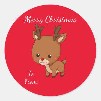 Etiqueta del regalo del reno del navidad