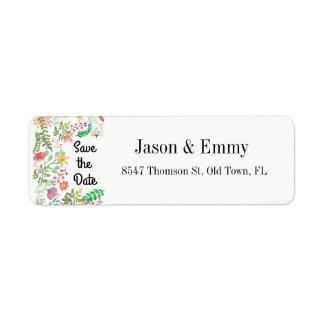 Etiqueta del remite - ahorre el tema floral de la etiqueta de remitente