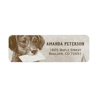 Etiqueta del remite de la letra del perro del
