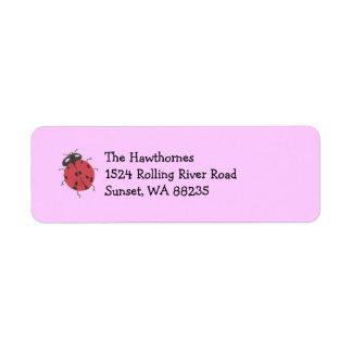 Etiqueta del remite de la mariquita -- rosa etiqueta de remite