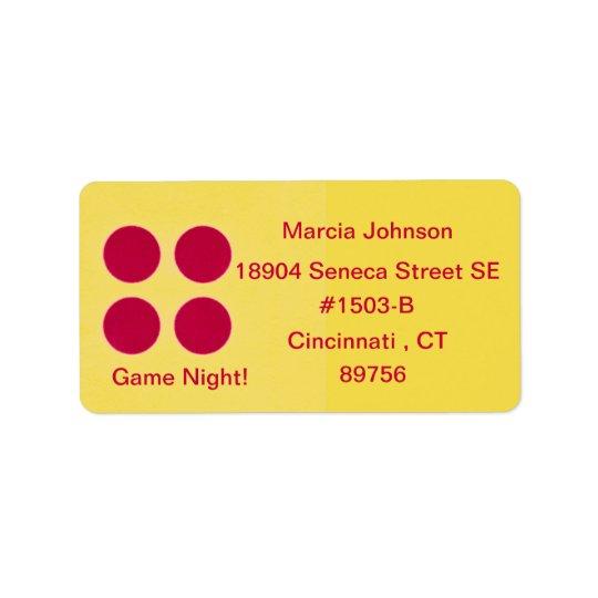 Etiqueta del remite de la noche del juego etiqueta de dirección