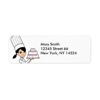 Etiqueta del remite del cocinero del panadero del etiqueta de remitente