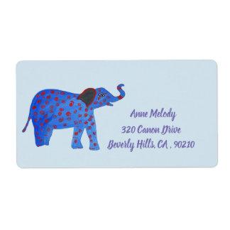 Etiqueta del remite del elefante del bebé