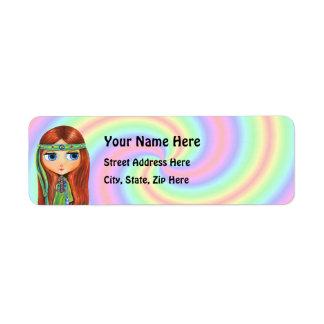 Etiqueta del remite del Hippie de la paz Etiqueta De Remitente