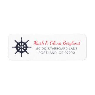 Etiqueta del remite del marinero de la rueda de la etiqueta de remitente