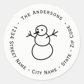Etiqueta del remite del muñeco de nieve del
